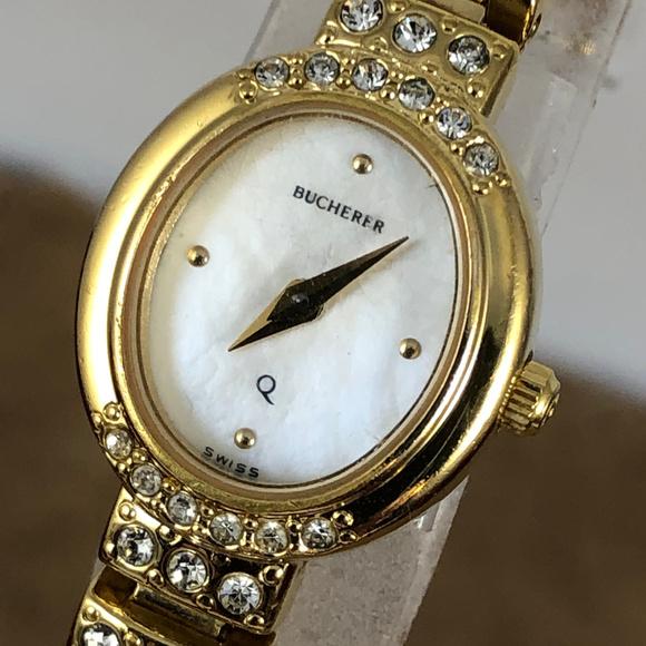 Bucherer Vintage Accessories - Elegant Vintage Bucherer Swiss Watch with Crystals